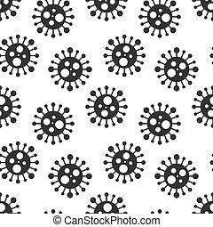 vektor, design., karikatur, künstlerisch, endlos, weißes, virus, schwarz, seamless, zelle, bakterien, hintergrund, pattern.