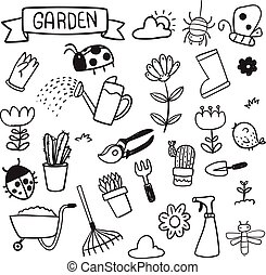 vektor, design, kleingarten, sammlung