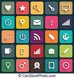 vektor, design, lägenhet, ikonen, för, nät