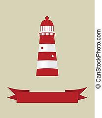vektor, design, lighthouse., abbildung, dein