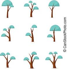vektor, design, sätta, träd, kollektion