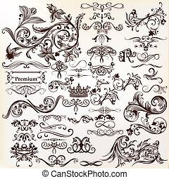 vektor, design., satz, elemente, calligraphic