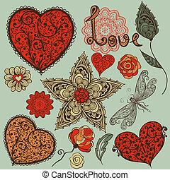 vektor, design, tag, elemente, valentines