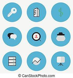 vektor, diagramm, wohnung, satz, geschaeftswelt, einfache , abbildung, architecture., synonyms, staffelei, icons., brett, andere, elemente, dollar
