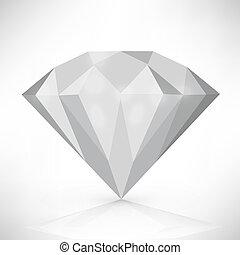 vektor, diamant, freigestellt, abbildung, white.