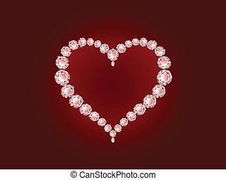 vektor, diamant, hjärta, på, röd fond