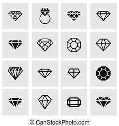 vektor, diamant, satz, ikone
