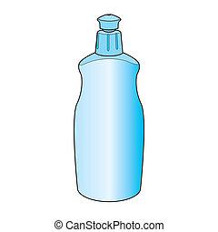 vektor, dishwashing flüssigkeit, flasche