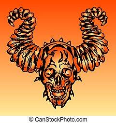 vektor, djævel, kranium, illustration