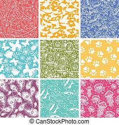 vektor, djur, bakgrunder, sätta, mönster, seamless, nio