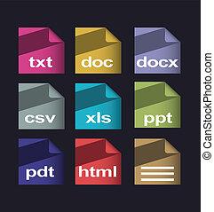 vektor, dokument, formatera
