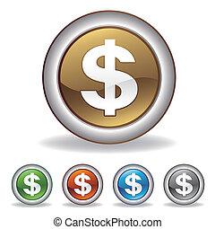vektor, dolar, ikona
