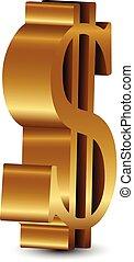 vektor, dollar, dreidimensional, gold