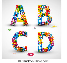 vektor, dopfunt, gjord, från, breven, av, den, alfabet