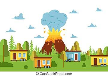 vektor, dorf, katastrophe, katastrophe, feuer, vulkan, ...