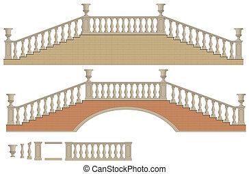 vektor, dubbelriktad, stege, och, bro