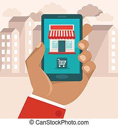 vektor, e-commerce, fogalom, alatt, lakás, mód, ikon, képben...