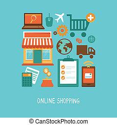 vektor, e-commerce, ikonok, és, cégtábla, alatt, lakás, mód