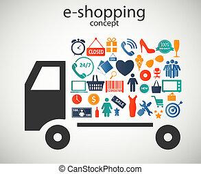 vektor, e-shopping, ikonok, fogalom, ábra