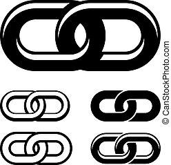 vektor, együtt, lánc, fekete, fehér, jelkép
