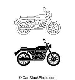 vektor, egyenes, klasszikus, bike.