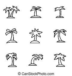 vektor, egyenes, pálma, ikon, állhatatos