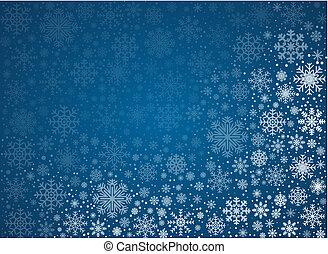 vektor, eisig, schneeflocken, hintergrund