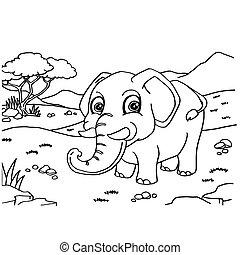 vektor, elefánt, színezés, apródok