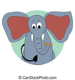 vektor, elefant, avatar, ikon