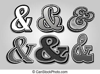 vektor, elegáns, fr, állhatatos, ampersands