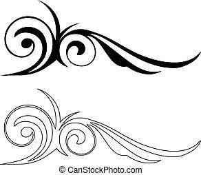 vektor, elegans, elements., illustration, två
