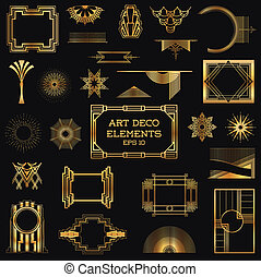 vektor, elementara, konst, årgång, -, deco, design, inramar
