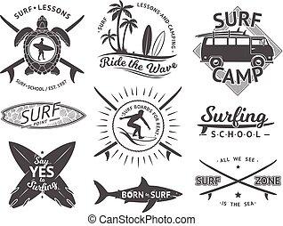 vektor, elemente, für, etiketten, oder, badges., surfen, hawaii, surfbrett, und, sea., monochrom, abbildung, satz