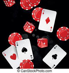 vektor, elemente, kasino