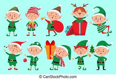 vektor, elfen, santa, weihnachtshelfer, claus, weihnachten, reizend, freigestellt, helfer, spaß, character., charaktere, zwerg, karikatur