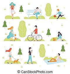vektor, elfoglaltságok, gyalogló, bágyasztó, emberek, férfiak, szabad, sport, liget, külső, ábra, szabadban, élvez, természet, nők