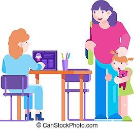 vektor, ellenőriz, orvos, kölyök, vizsga, feláll, illustration., törődik, türelmes, betű, értesülés, gyermekgyógyászati, gyermek, körülbelül, klinika