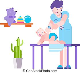 vektor, ellenőriz, vizsga, orvos, dívány, gyermek, betű, feláll, csecsemő, illustration., türelmes, lakás, gyermekorvos, kórház, orvosi