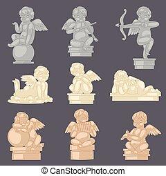vektor, eller, forntida, engelskt, staty, ängel, monument, marmor, valentinkort, tecken, isolerat, cupid, påskyndar, sätta, illustration, bakgrund, bröllop, baby, söt, skulptur, dag