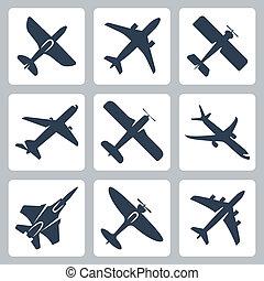 vektor, elszigetelt, repülőgép, ikonok, állhatatos
