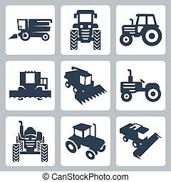 vektor, elszigetelt, traktor, és, érdektársulás harvester, ikonok