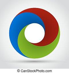 vektor, elvont, szín, örvény