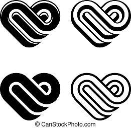 vektor, elvont, szív, fekete, fehér, jelkép