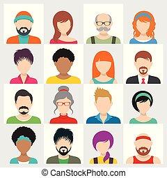 vektor, emberek, avatar, ikonok