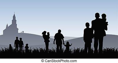 vektor, emberek, fiatal, ábra, haladó, templom, gyerekek