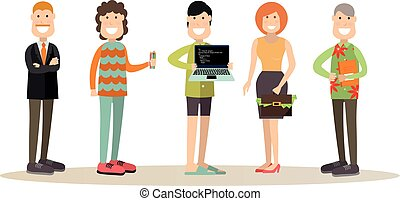 vektor, emberek, mód, lakás, ábra, befog, kreatív