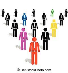 vektor, emberek, színes, ikon