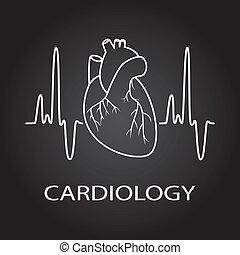 vektor, emberi szív, orvosi jelkép, közül, kardiológia
