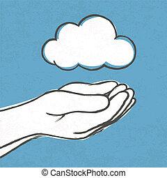 vektor, eps10, moln, hands.