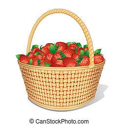 vektor, erdbeer, korb